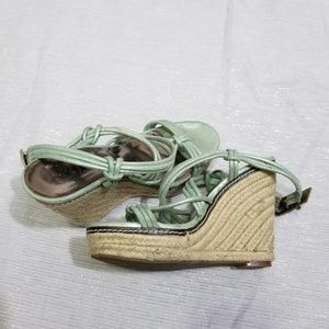 Reba Light Green Metallic Espadrille Wedges SZ 8